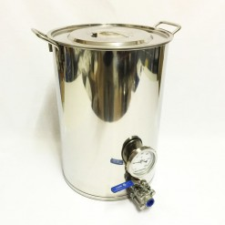 Brew Pot with Ball Valve and Thermometer